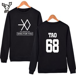 Wholesale Exo K - BTS EXO Kpop Sing For You Capless Sweatshirt Men Women Hoodies Autumn Korean Hip Hop k-pop Hoodies Sweatshirt Clothes XXXXL