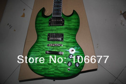 Wholesale Custom Quilts - High Quality Deluxe SG 400 Custom Quilt Maple Green Electric Guitar 2 Pickups Free Shipping