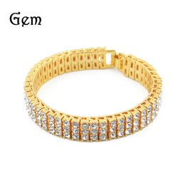 """Wholesale mens high bar - Mens Silver Gold Color Iced Out 8"""" 3 Row Simulated Cz Hip-Hop Bracelet Heavy Bling High Quality Fashion Jewelry"""