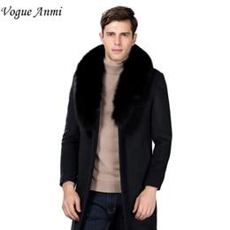 Wholesale Plus Size Long Pea Coat - Wholesale- Vogue Anmi. Winter Wool Coat Slim Fit Jackets Fashion Fox Fur Collar Warm Man Casual Jacket Overcoat Pea Coat Plus Size M-XXXL
