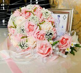 kylie mini kit lèvre Promotion Date Mariage Bouquet De Mariée Avec Des Fleurs À La Main Charmante Rose Fournitures De Mariage Mariée Tenant Broche Bouquet
