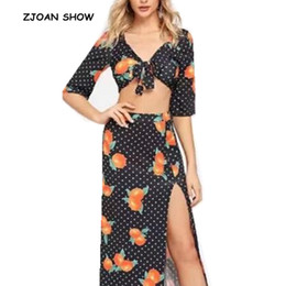 Seksi Meyve Turuncu Desen Baskı Papyon Hem Hırka Mini Gömlek 2018 Yeni Kadın Yarım Kollu Plaj Tatil Bluz Tops nereden