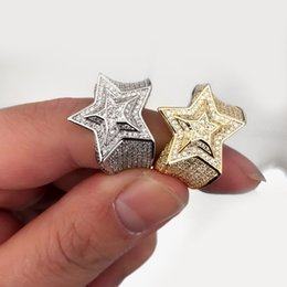 Wholesale Stars Rings - 2018 New Luxury hip hop bling jewelry Star shape christmas gift for men bling bling micro pave cz gold silver color cz engagement ring