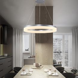 Candelabros para salas de reuniones online-Nordic Circular Acrílico Lámpara Colgante Dormitorio de Moda Postmoderno Línea de Pescado Restaurante Araña para Sala de Reunión Lámpara de Estudio