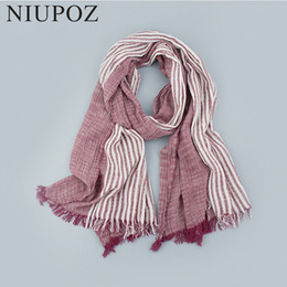 Wholesale Wrinkle Long Scarf - 75*205cm Women Winter Autumn Soft Cotton Scarf Wrinkle Warm Men Striped Unisex Long Shawl&Wrap High Quality M194