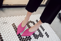 Wholesale square mouth shoes - yangqianbing 2018 Brand New Fashion Elegant V Mouth Silk Slippers 4cm Square Toe Woman Shoes High Quality Point Toe Pumps Mules