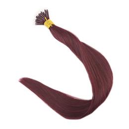 Wholesale Nano Ring Human Hair Extensions - Color 99J Wine Red Nano Ring Human Hair Extensions 1g Per Strand 50g 100g Remy Human Hair Extensions