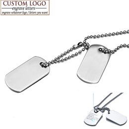 custom stainless steel dog tags Coupons - AZIZ BEKKAOUI Men Jewelry Custom Dog Tag Pendant Necklaces Stainless Steel Pendants Army ID Tag Necklace Free Engrave