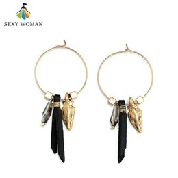 Wholesale Beads For Hoop Earrings - whole saleSEXY WOMAN Trendy Gold color Round Circle Hoop Earrings Vintage Black Leather Glass Bead Pendant Earrings Jewelry Gift for Women