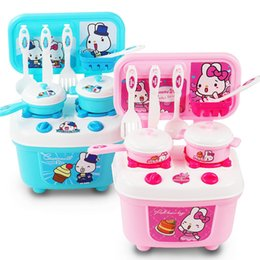 Wholesale Pink Girls Play Kitchen - Kids Play House Toys Girl Light Music Tableware Sets Baby Toys Kitchen Cooking Simulation Model Happy Kitchen Pretend Play