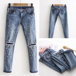 Wholesale Fit Cowboys - 2018 New Knee Hole Ripped Jeans Women Stretch Denim Pencil Pants Casual Slim Fit Rivet Pearl Jeans Summer Long Trousers Low Waist Cowboy