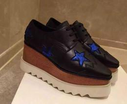 Wholesale Women Denim Wedges - 2018 25 colour Hot Sale! Stella Mccartney Shoes Top Quality Genuine Leather Women Fashion Platform Wedge Platform Oxfords Boost Sneake 33008