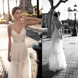 Gali Karten Wedding Dresses 2018 A Line Lace Applique Berta Bohemian Spaghetti Straps V Neck Backless Bridal Gown Custom Made Floor Length