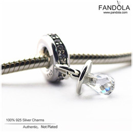 2020 соски-пустышки Fits Original Charms Bracelet 100% 925 Sterling Silver Clear CZ Pacifier Dangle  for Jewelry Making Berloque Promotion дешево соски-пустышки
