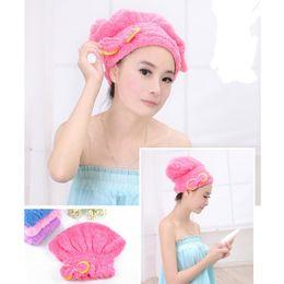 Wholesale Flower Hair Dryer - Wholesale-2pcs Hair Turban Strong Water Absorption Hair Dry Shower Female Bath Caps Hats Microfiber Quick Dry Hair Towel