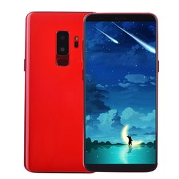 Wholesale metal chargers - Cheap Red 3G WCDMA Goophone 9 Plus 6.2 inch Full Screen Face ID Iris Fingerprint GPS WiFi 13MP Camera Metal Frame Back 2.5D Glass Smartphone