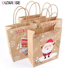 Borse di matrimonio online-Sacchetti regalo di carta natalizia Elk Pattern Babbo Natale Confezione regalo Sacchetto navidad Party Wedding Marriage Candies Cookie Packaging Bags