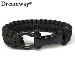 parachute cord bracelets Promo Codes - Wholesale- New Braided Pulseras Outdoor Camping Rescue Paracord Bracelets Parachute Cord Men Emergency Black Survival O+T Stainless Buckles