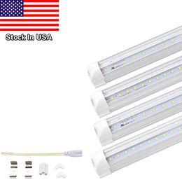 Wholesale v shape - Stock In USA V Shaped LED Tube Lights, Dual-sided V-shape Integrated, AC85-265V, Clear Cover, Cool White 6000K, LED Cooler Door Lights