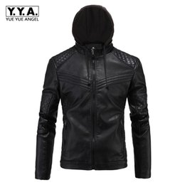 Wholesale Thick Lined Fleece Coat - Fashion Hooded PU Leather Jacket Men British Fleece Lining Warm Coat High Quality Rock Overcoats Loose Fit Jaqueta Motoqueiro