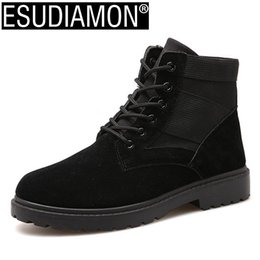 Wholesale Casual Work Boots For Men - ESUDIAMON Black Men's Working Safty Shoes Leather Canvas Boots Army Boot Zapatos Ankle Comfortable Boots for Men Casual Shoes