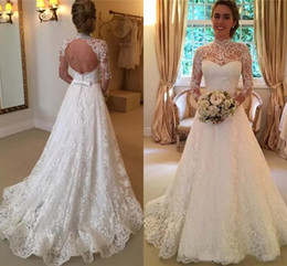 Wholesale long sleeved vintage wedding dresses - Vintage Lace Wedding Dresses High Neck Illusion Sleeved Open Back A line Wedding Gowns Chapel Long Bridal Dresses