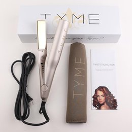 Wholesale Tourmaline Ceramic Flat Iron - TYME Iron Gold Plated Titanium Plates Hair Straightener Flat Irons Fast Hair Straightening Ceramic Hair Curler Styling Tools