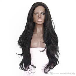Wholesale blonde medium wavy wig - Hot Selling 14-28inch Natural Hairline Glueless High Temperature Fiber Hair Wigs Swiss Long Wavy 1# Black Synthetic Lace Front Wig for Women