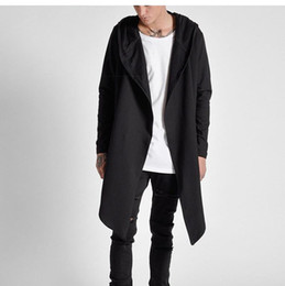 Wholesale trench coat men s fashion - Fashion Winter Mens Hip Hop Coats Long Before and After The Short trench Coat Hi-Street Extended Hoodies Mens Black Trench Coat S-XL