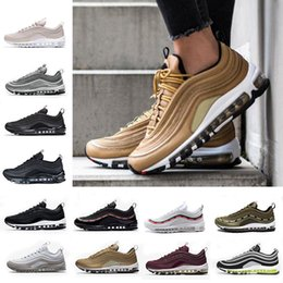 Wholesale Sports Casual Shoes Mens - 2018 Air Cushion 97 x UNDFTD Running Shoes Silver Bullet Triple white balck Metallic Gold Mens women Casual Sport Sneakers Eur 36-46