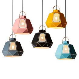 Wholesale pendant metal shade - New classical pendant lights colorful macaron hanging light metal shade single head droplight for kids room bedroom restaurant droplight