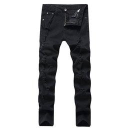 Wholesale Jeans Broken - 2018 new high street, European and American fashion jeans, men's pure cotton broken trousers, slim and slim pants.