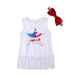 Wholesale july party - Fourth of July baby girl clothes sleevless dresses tassel sundress with headband freedom summer party children clothing vestidos boutique