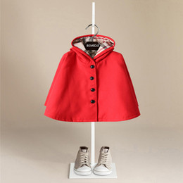 Wholesale Girls Wool Winter Coats - Boutique Children Cloak Hooded Trench coats Red New year clothing Girls outwear England style Fashion children clothing 2018 New