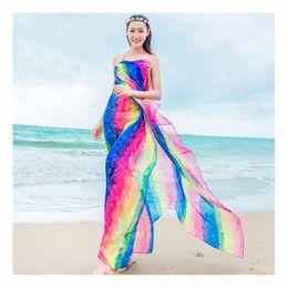 Wholesale Leather Yarn - GERINLY Summer Scarf Women's 150*180cm Long Pareo Scarves Striped Rainbow Print Chiffon Hijab Bikini Cover Up Beach Sarongs Wrap