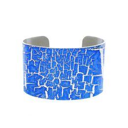 Poignet en bois en Ligne-Peeling bleu Peinture Cuff, bleu bracelet grunge et la rouille Cuff, réglable bois rouillé imprimé personnalisé en métal Bijoux photo