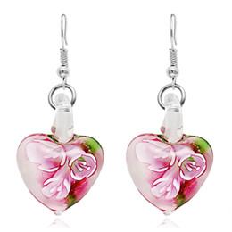 Wholesale Green Murano - Glow in Dark Floral Heart Italy Murano Glass Earring Fashion Earrings Luxury Designer Earring Designer Jewelry Big Hoop Earrings