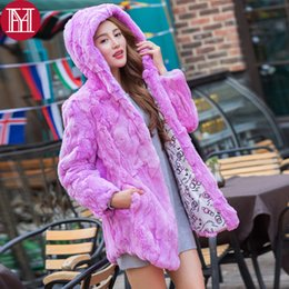 Wholesale Jacket Rabbit Fur Hoods - 100% Real Natural Rex Rabbit Fur Coat 2017 Real Rex Rabbit Fur Jacket Warm Thick Fashion Overcoat Wholesale Factory Retail