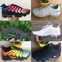 Wholesale Metallic Packing - New Vapormax TN Plus VM Olive In Metallic White Silver Colorways Shoes Men Shoes For Running Male Shoe Pack Triple Black Mens Shoes
