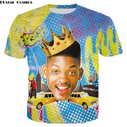 PLstar Cosmos 2018 verano Nueva camiseta de moda The Fresh Prince de Bel-Air Will Smith / Carlton Banks 3D Imprimir camisetas casuales desde fabricantes