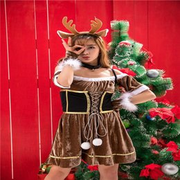 Wholesale Reindeer Christmas Costume - Santa Fancy Costumes Cute Christmas Adult Reindeer Women Christmas Playing Clothing Autumn And Winter Holiday Role Playing Costume Mascot