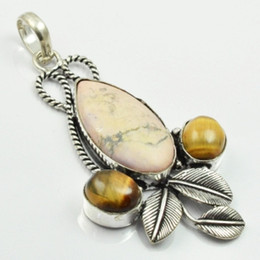 Wholesale natural overlay - Howlite & Tiger Eye Pendant Silver Overlay over Copper , 72 mm, P2789
