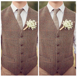 fashion chinese wedding dress Promo Codes - Cheap Sale 2018 Brown Tweed Vest Wool Herringbone Groom Vests Mens Suit Vests Slim Fit Mens Dress Vest Custom Wedding Vest