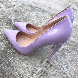 Zapatos atractivos de la boda femenina online-2018 Mujeres Bombea Púrpura Zapatos Mujer 10 CM Tacones Altos Sexy Zapatos de Boda Moda de Charol Zapatos de Novia Femeninos para Mujeres