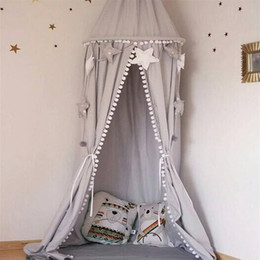 Wholesale Princess Wedding Decor - Nordic Style Nursery Playroom Decor Canopy White Pink Grey Hanging Bed Canopy with Tassel Ball Photo Prop Princess Room Wedding