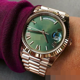 Wholesale Automatic Self Winding Watch - Luxury Watches 228235 Rose Gold Self-Winding Mechanical Movement Green Dial Sapphire Glass Concealed Folding Crown Clasp Men Watches 40MM