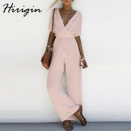 5c85058cb7ebc wide leg jumpsuits sleeves 2019 - 2018 Women Solid Jumpsuit Romper Short  Sleeve V Neck Casual