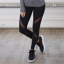 Wholesale women winter jeggings - Women Casual Leggings Fitness Winter Jeggings New Arrival Ladies Plain Elastic Waist Color Pants Block Mesh Insert Leggings 6012