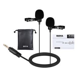 2019 боя-микрофон NEW BOYA BY-LM300 Dual-head Lavalier Lapel interview Microphone Clip-on Condensor Mic for Canon Nikon Sony DSLR Camcorder PC дешево боя-микрофон