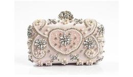 Wholesale Handmade Crystal Bags - Hot Sale 18104 Handmade Evening Clutch Purse Fashion Lady Designer Diamond Crystal rhinestone pearl beaded Evening Bag